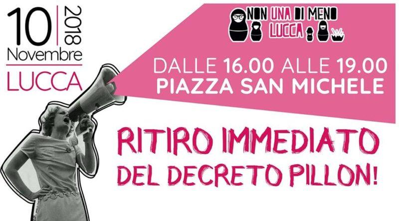 Sabato 10 novembre anche a Lucca Non Una di Meno manifesta contro il Ddl Pillon